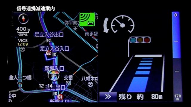 信号連携減速案内画面