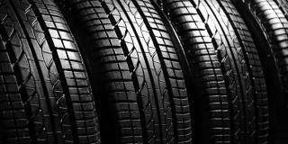 Car tires, closeup