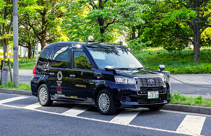 Tokyo, Japan - April 20 2018: New model of Japanese Taxi called